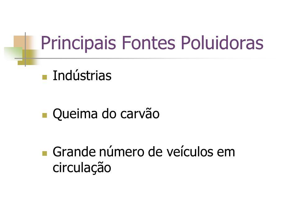 Principais Fontes Poluidoras Indústrias Queima do carvão Grande número de veículos em circulação