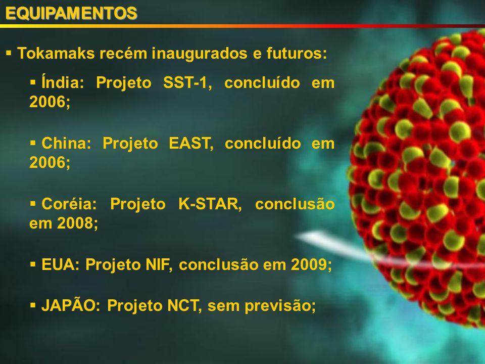 Tokamaks recém inaugurados e futuros: Índia: Projeto SST-1, concluído em 2006; China: Projeto EAST, concluído em 2006; Coréia: Projeto K-STAR, conclusão em 2008; EUA: Projeto NIF, conclusão em 2009; JAPÃO: Projeto NCT, sem previsão;EQUIPAMENTOS