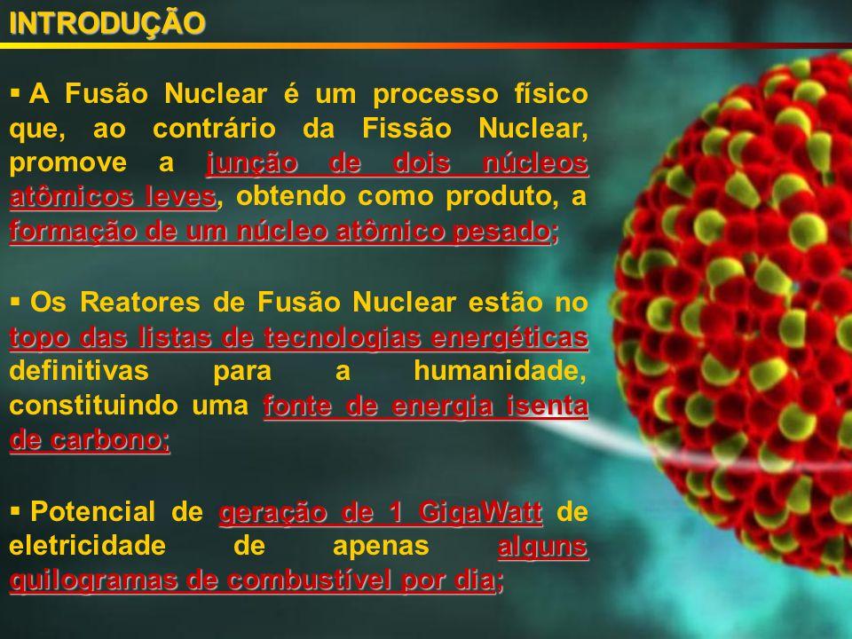 junção de dois núcleos atômicos leves formação de um núcleo atômico pesado; A Fusão Nuclear é um processo físico que, ao contrário da Fissão Nuclear, promove a junção de dois núcleos atômicos leves, obtendo como produto, a formação de um núcleo atômico pesado; topo das listas de tecnologias energéticas fonte de energia isenta de carbono; Os Reatores de Fusão Nuclear estão no topo das listas de tecnologias energéticas definitivas para a humanidade, constituindo uma fonte de energia isenta de carbono; geração de 1 GigaWatt alguns quilogramas de combustível por dia; Potencial de geração de 1 GigaWatt de eletricidade de apenas alguns quilogramas de combustível por dia;INTRODUÇÃO