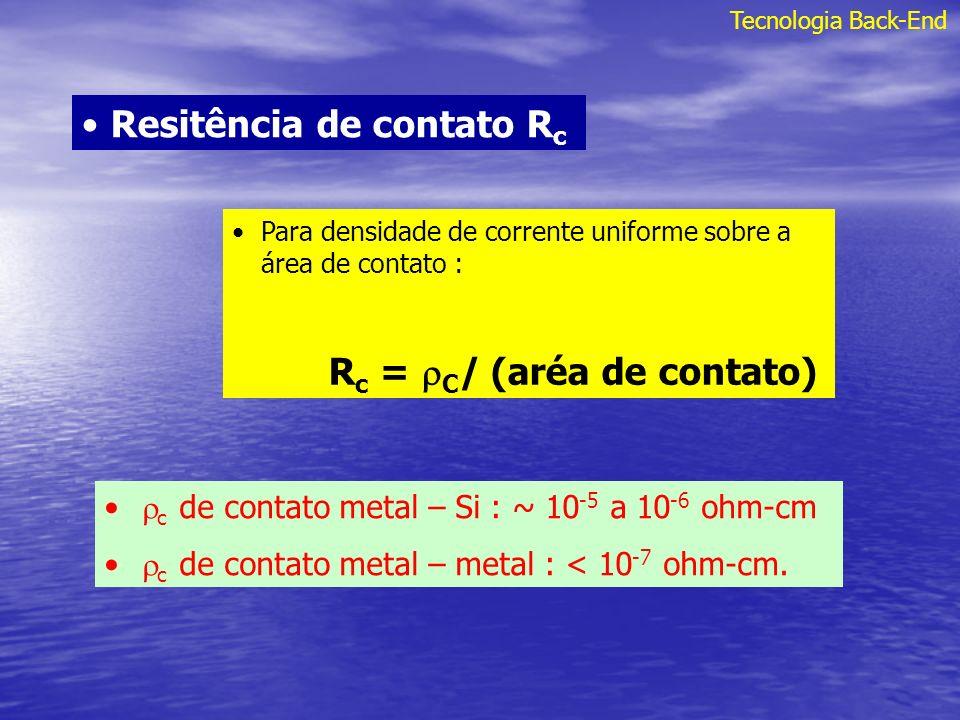 Tecnologia Back-End Resitência de contato R c Para densidade de corrente uniforme sobre a área de contato : R c = C / (aréa de contato) c de contato m
