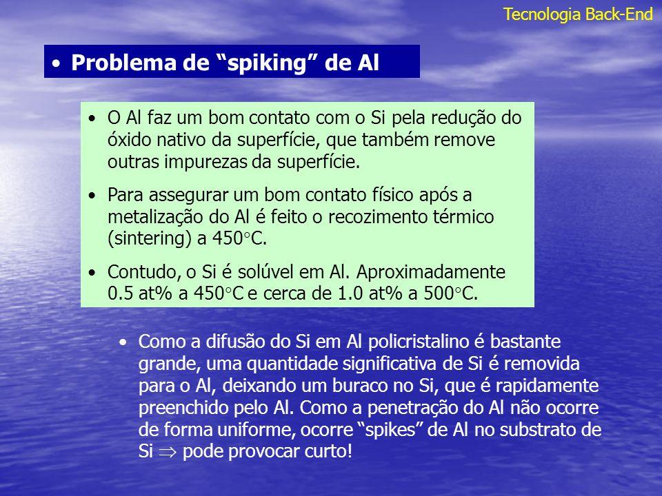 Tecnologia Back-End Problema de spiking de Al O Al faz um bom contato com o Si pela redução do óxido nativo da superfície, que também remove outras im