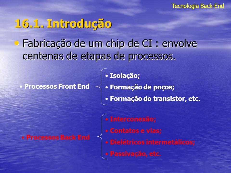 16.1. Introdução Fabricação de um chip de CI : envolve centenas de etapas de processos. Fabricação de um chip de CI : envolve centenas de etapas de pr