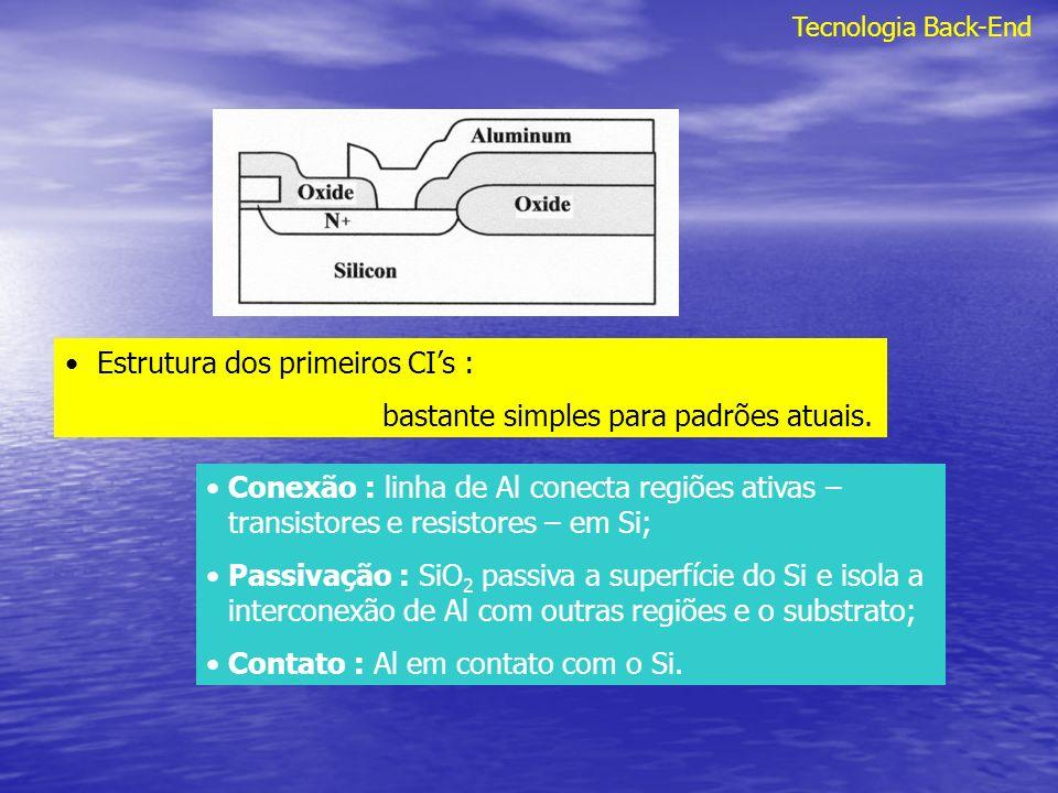 Tecnologia Back-End Na atual tecnologia CMOS com linhas de Al o delay devido a interconexão pode ser cerca de 30-40% do delay de todo o circuito; Tecnologia da geração anterior, 15-20%.