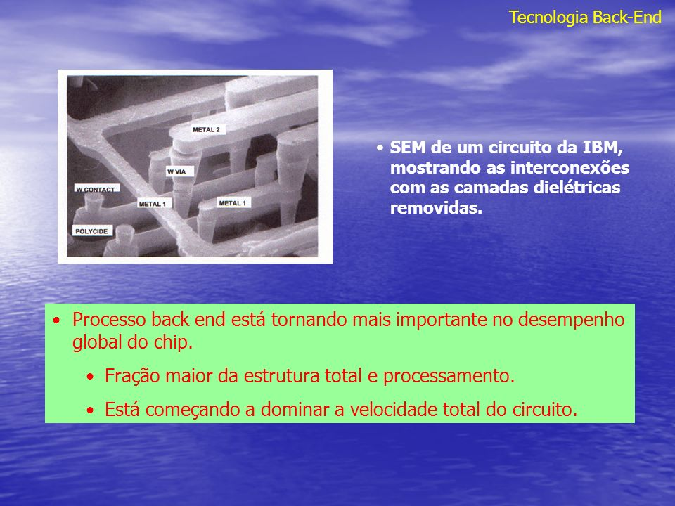 Tecnologia Back-End Table 16.1 Future projections for back end technology taken from the SIA NTRS Nível de metais.