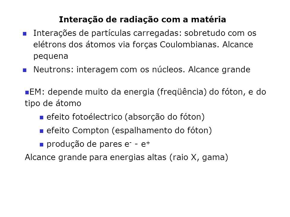 Interação de radiação com a matéria n Interações de partículas carregadas: sobretudo com os elétrons dos átomos via forças Coulombianas. Alcance peque