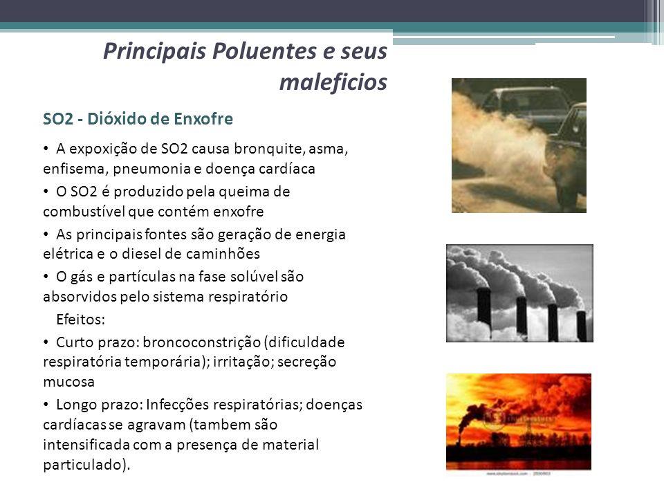 SO2 - Dióxido de Enxofre Principais Poluentes e seus maleficios A expoxição de SO2 causa bronquite, asma, enfisema, pneumonia e doença cardíaca O SO2