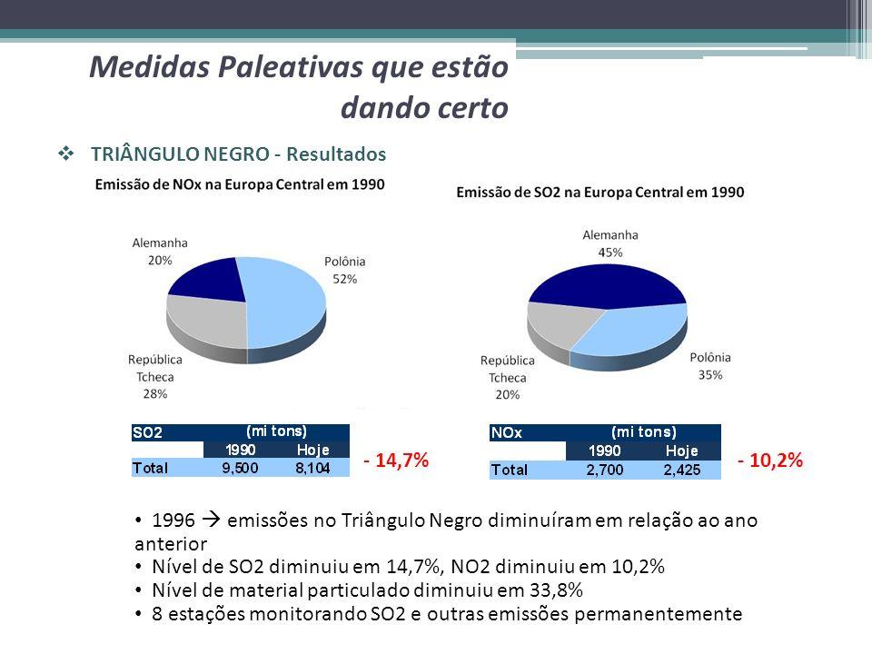 TRIÂNGULO NEGRO - Resultados Medidas Paleativas que estão dando certo 1996 emissões no Triângulo Negro diminuíram em relação ao ano anterior Nível de