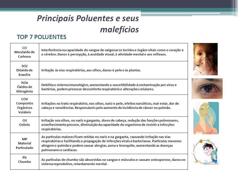 Principais Poluentes e seus malefícios TOP 7 POLUENTES CO Monóxido de Carbono Interferência na capacidade do sangue de oxigenar os tecidos e órgãos vi