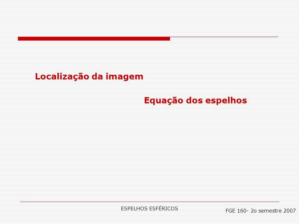 ESPELHOS ESFÉRICOS Localização da imagem Equação dos espelhos FGE 160- 2o semestre 2007