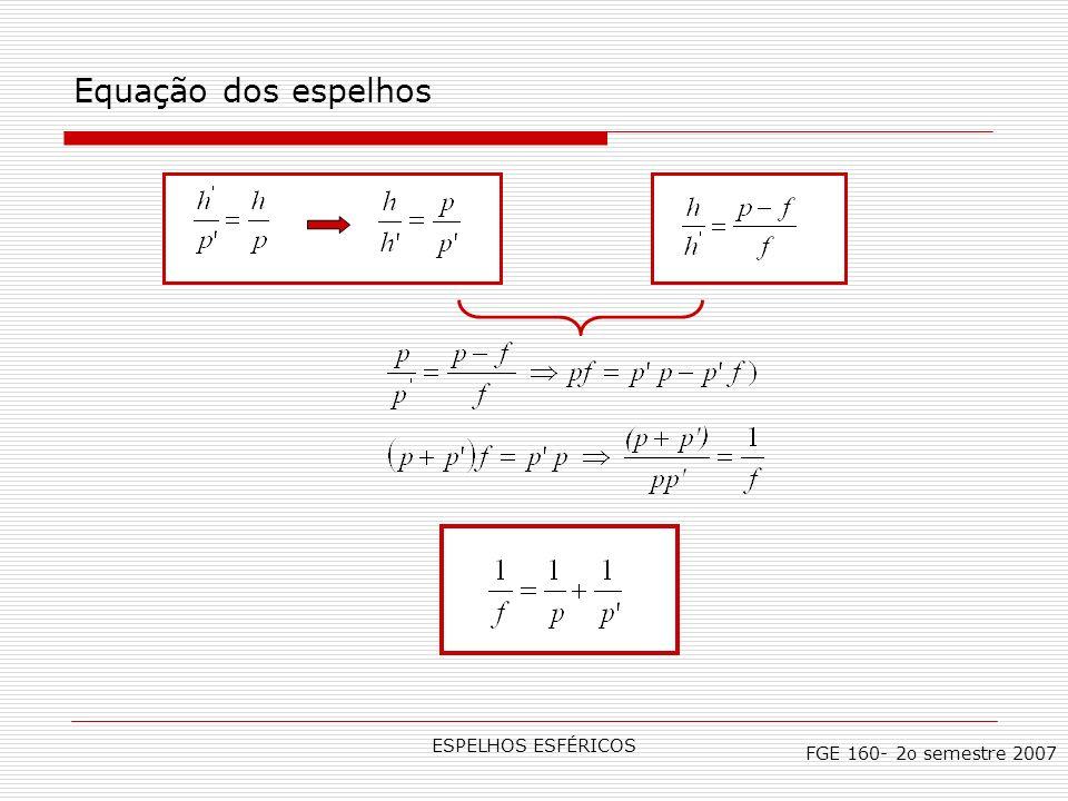 ESPELHOS ESFÉRICOS Equação dos espelhos FGE 160- 2o semestre 2007