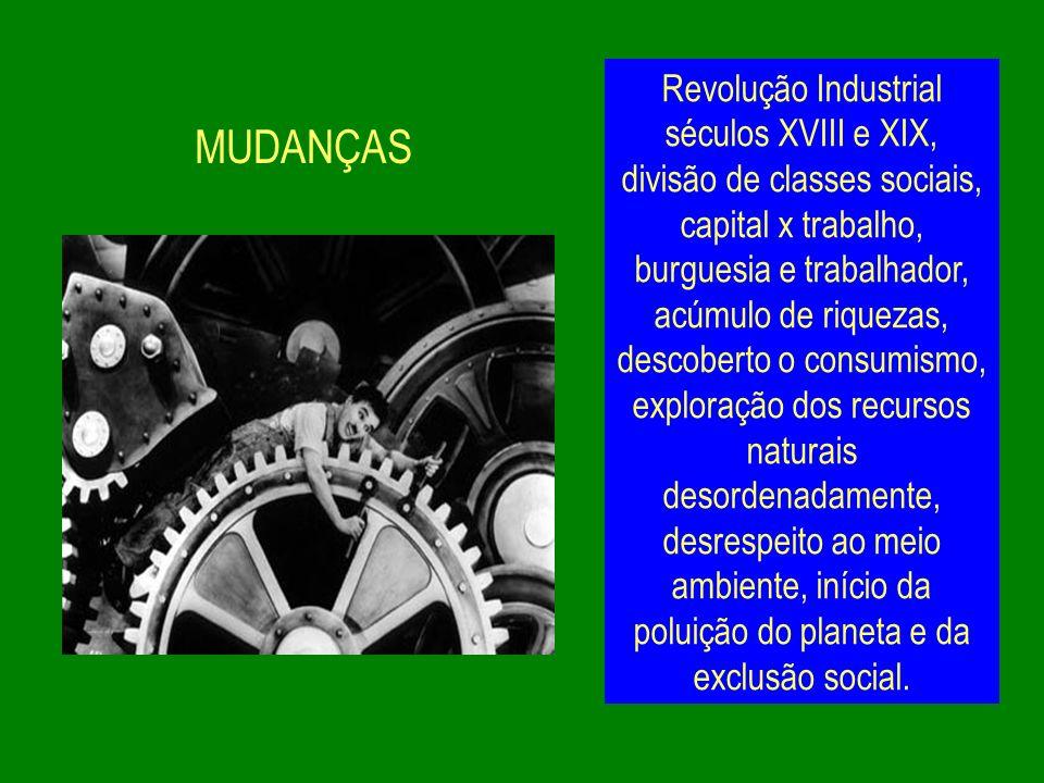 MUDANÇAS Revolução Industrial séculos XVIII e XIX, divisão de classes sociais, capital x trabalho, burguesia e trabalhador, acúmulo de riquezas, desco
