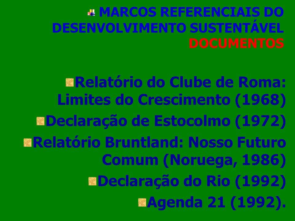 MARCOS REFERENCIAIS DO DESENVOLVIMENTO SUSTENTÁVEL DOCUMENTOS Relatório do Clube de Roma: Limites do Crescimento (1968) Declaração de Estocolmo (1972)