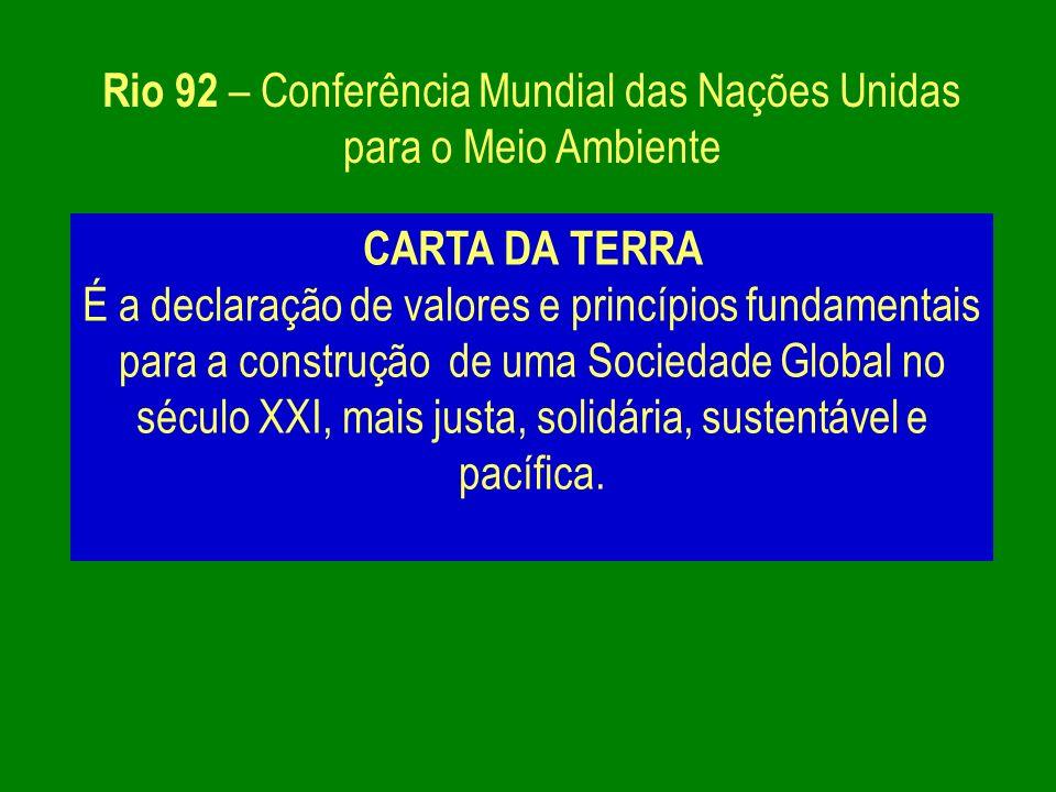 Rio 92 – Conferência Mundial das Nações Unidas para o Meio Ambiente CARTA DA TERRA É a declaração de valores e princípios fundamentais para a construç