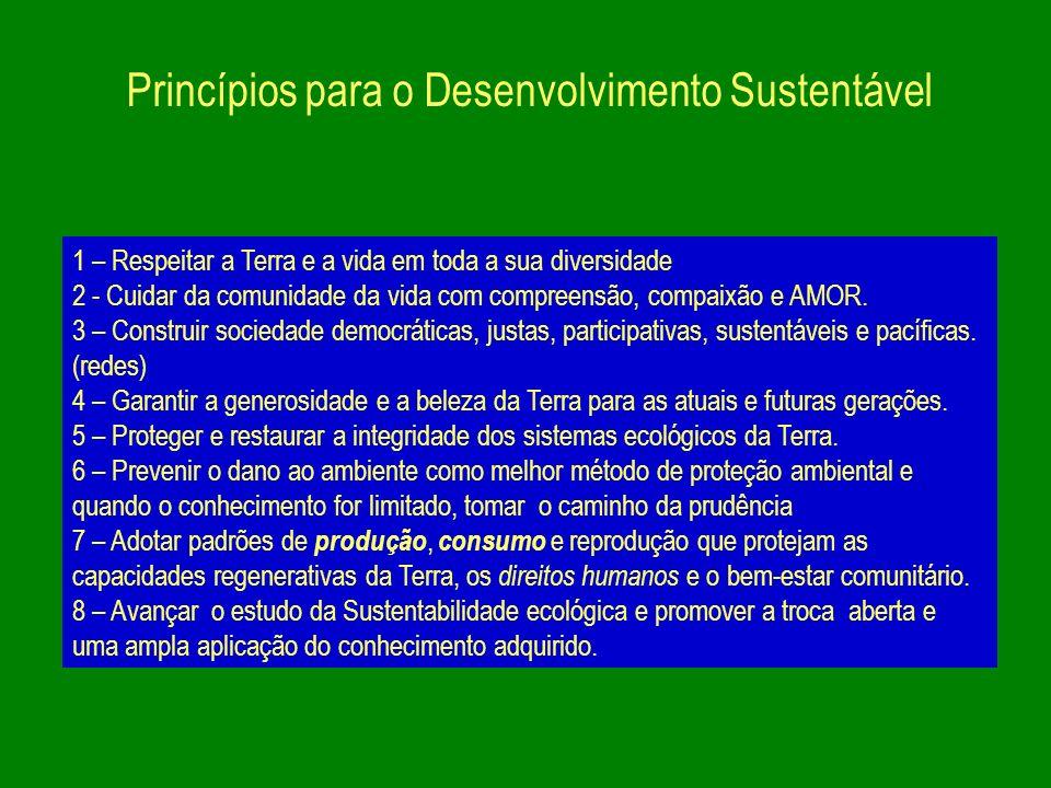 Princípios para o Desenvolvimento Sustentável 1 – Respeitar a Terra e a vida em toda a sua diversidade 2 - Cuidar da comunidade da vida com compreensã