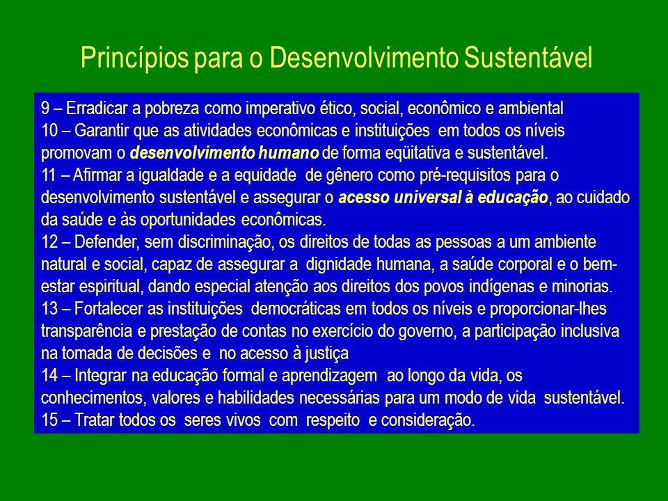 Princípios para o Desenvolvimento Sustentável 9 – Erradicar a pobreza como imperativo ético, social, econômico e ambiental 10 – Garantir que as ativid