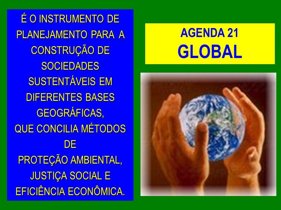 AGENDA 21 GLOBAL É O INSTRUMENTO DE PLANEJAMENTO PARA A CONSTRUÇÃO DE SOCIEDADES SUSTENTÁVEIS EM DIFERENTES BASES GEOGRÁFICAS, QUE CONCILIA MÉTODOS DE