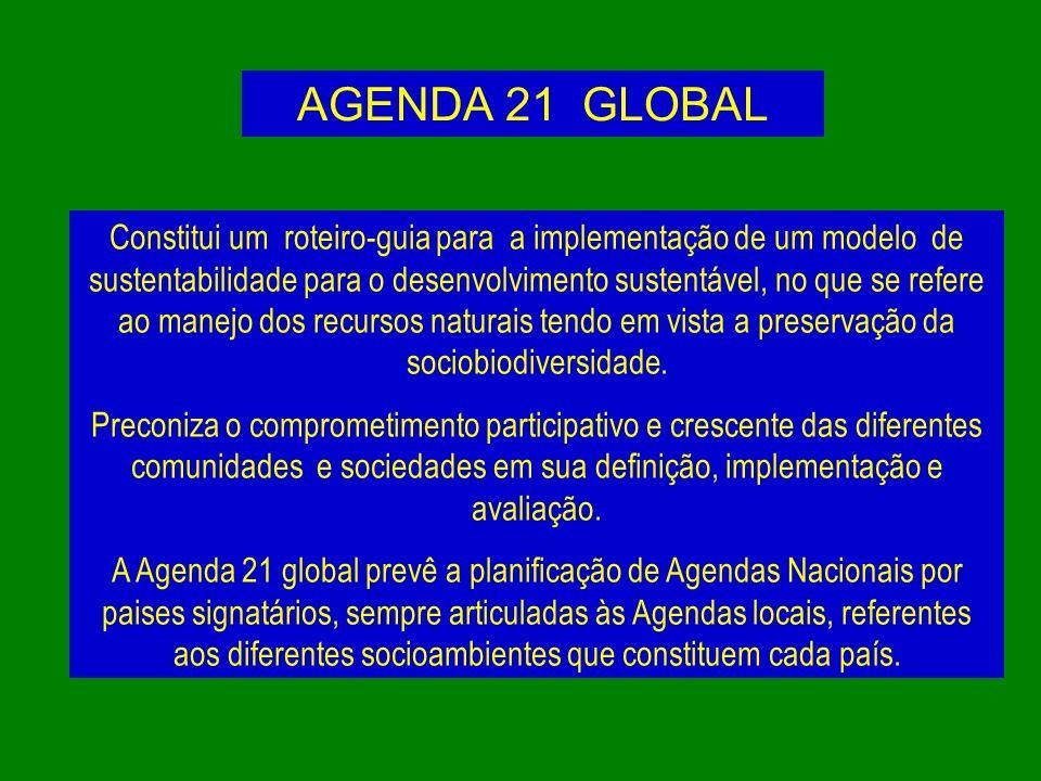 AGENDA 21 GLOBAL Constitui um roteiro-guia para a implementação de um modelo de sustentabilidade para o desenvolvimento sustentável, no que se refere