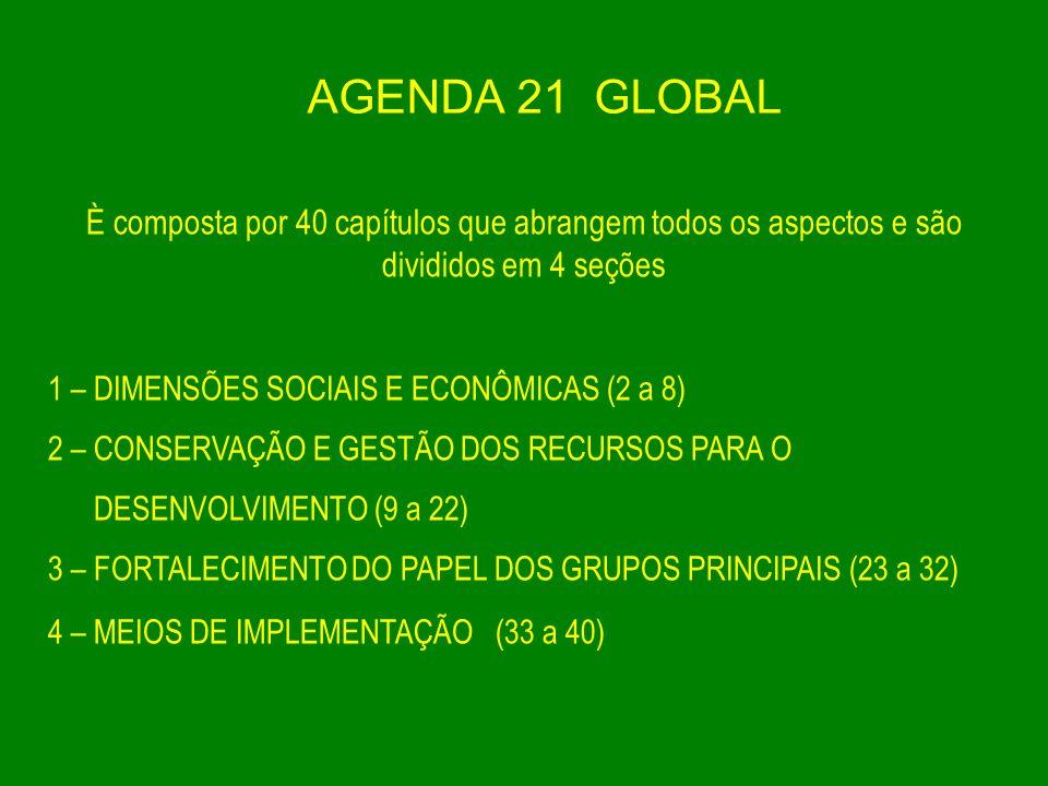 AGENDA 21 GLOBAL È composta por 40 capítulos que abrangem todos os aspectos e são divididos em 4 seções 1 – DIMENSÕES SOCIAIS E ECONÔMICAS (2 a 8) 2 –