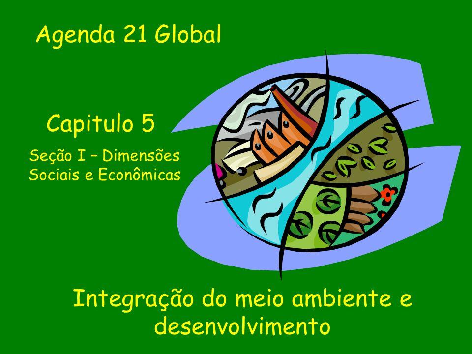 Integração do meio ambiente e desenvolvimento Agenda 21 Global Capitulo 5 Seção I – Dimensões Sociais e Econômicas