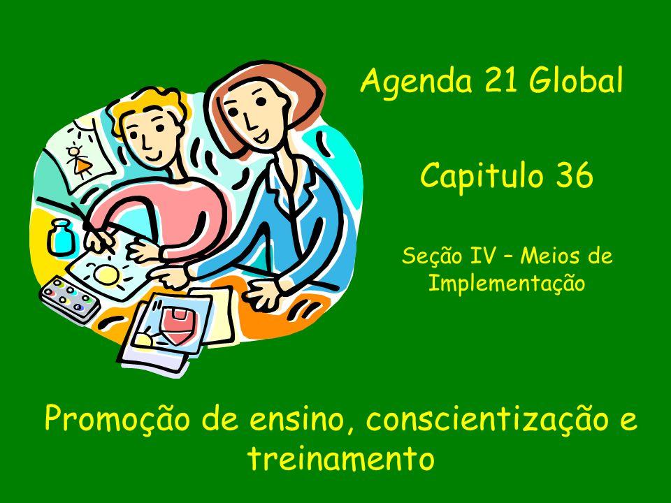 Promoção de ensino, conscientização e treinamento Agenda 21 Global Capitulo 36 Seção IV – Meios de Implementação