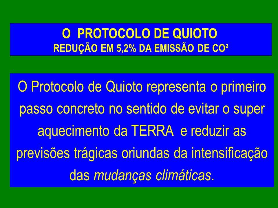 O Protocolo de Quioto representa o primeiro passo concreto no sentido de evitar o super aquecimento da TERRA e reduzir as previsões trágicas oriundas
