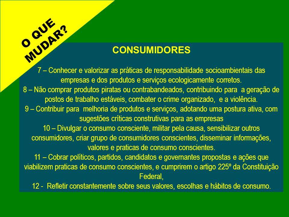 CONSUMIDORES 7 – Conhecer e valorizar as práticas de responsabilidade socioambientais das empresas e dos produtos e serviços ecologicamente corretos.