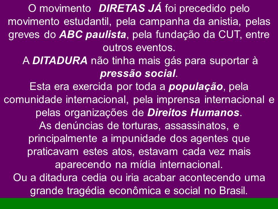O movimento DIRETAS JÁ foi precedido pelo movimento estudantil, pela campanha da anistia, pelas greves do ABC paulista, pela fundação da CUT, entre ou