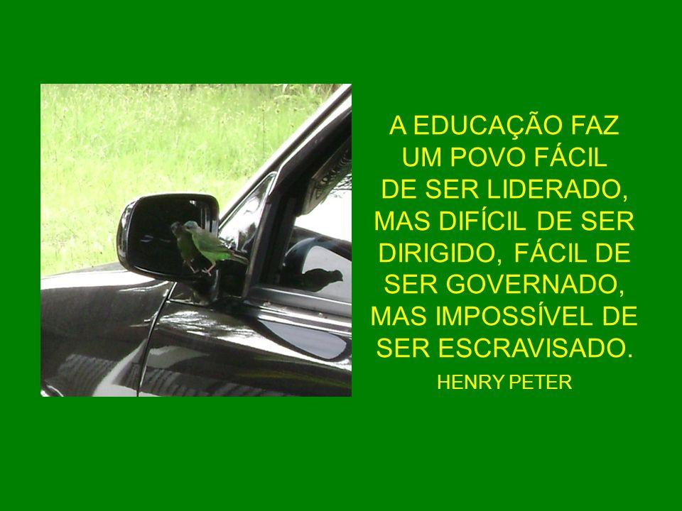 A EDUCAÇÃO FAZ UM POVO FÁCIL DE SER LIDERADO, MAS DIFÍCIL DE SER DIRIGIDO, FÁCIL DE SER GOVERNADO, MAS IMPOSSÍVEL DE SER ESCRAVISADO. HENRY PETER