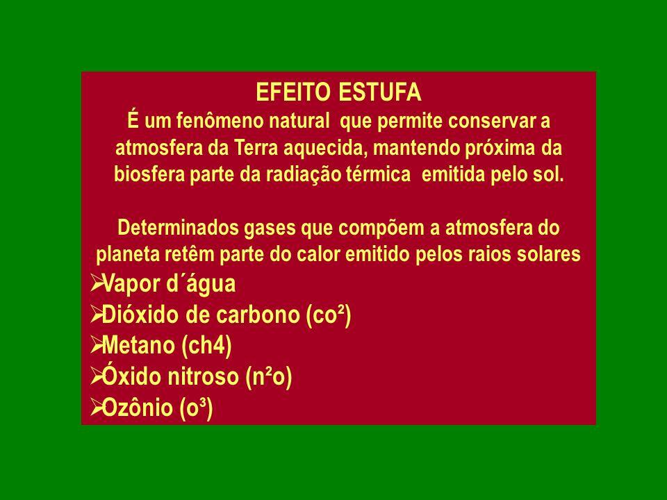 EFEITO ESTUFA É um fenômeno natural que permite conservar a atmosfera da Terra aquecida, mantendo próxima da biosfera parte da radiação térmica emitid