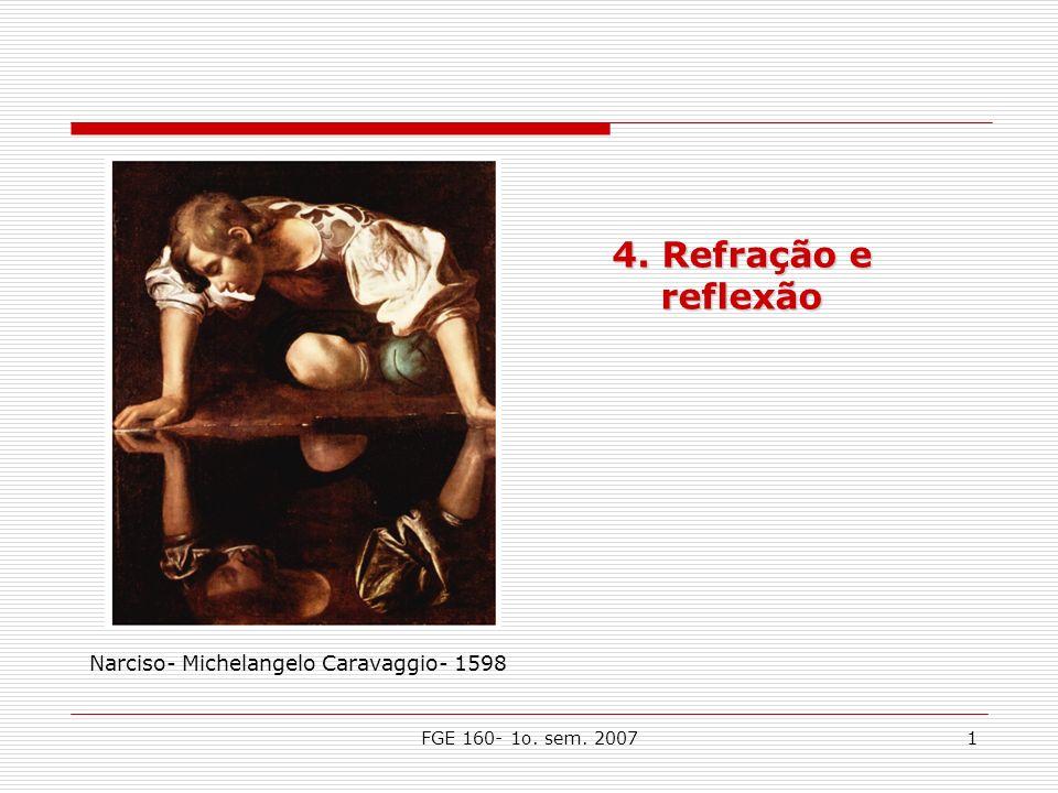 FGE 160- 1o. sem. 20071 4. Refração e reflexão Narciso- Michelangelo Caravaggio- 1598