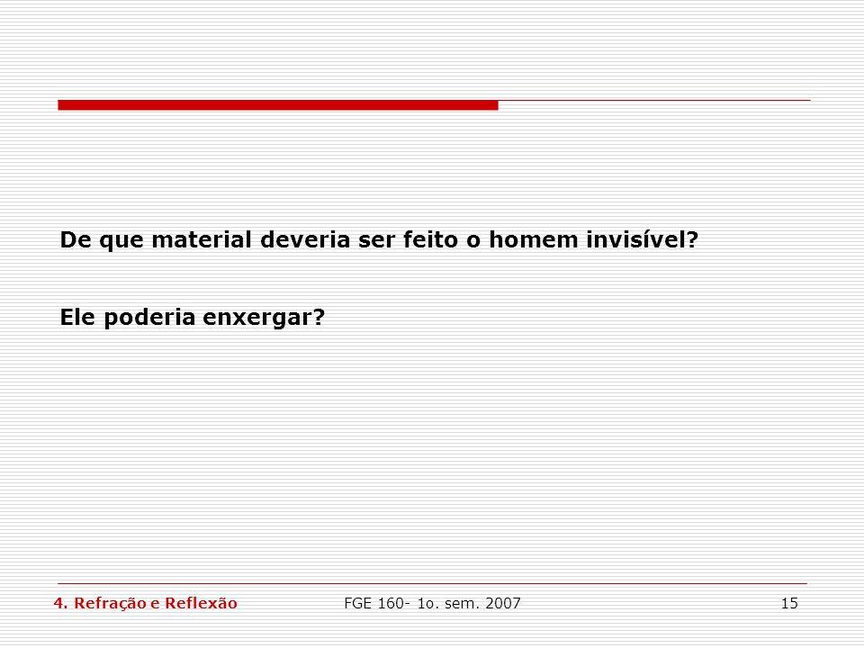 FGE 160- 1o. sem. 200715 De que material deveria ser feito o homem invisível? Ele poderia enxergar? 4. Refração e Reflexão