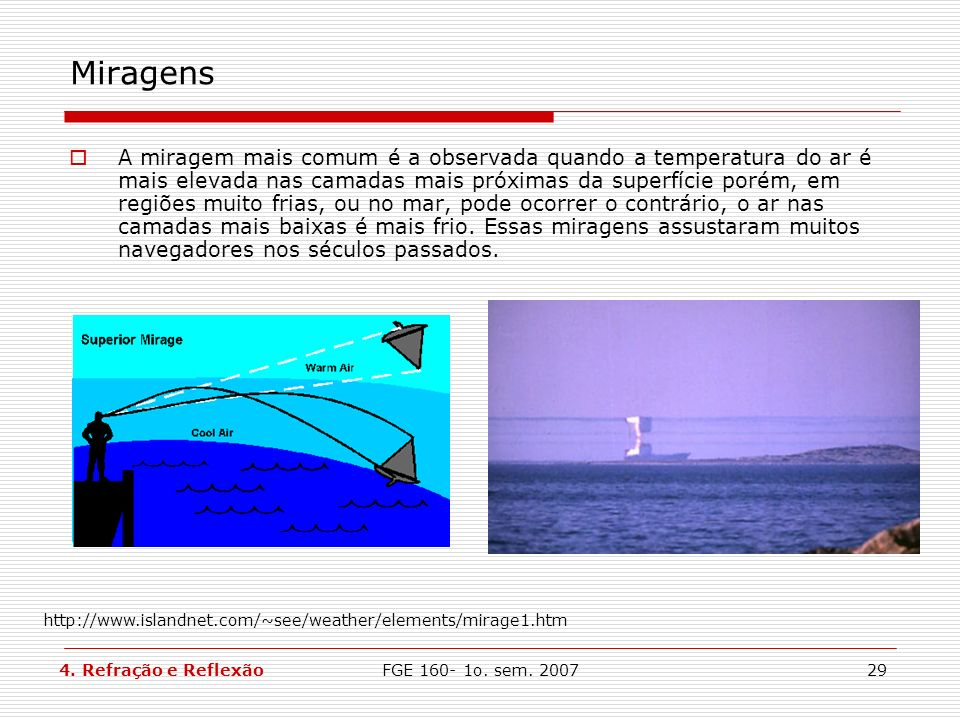 FGE 160- 1o. sem. 200729 Miragens A miragem mais comum é a observada quando a temperatura do ar é mais elevada nas camadas mais próximas da superfície