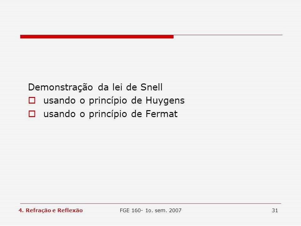 FGE 160- 1o. sem. 200731 Demonstração da lei de Snell usando o princípio de Huygens usando o princípio de Fermat 4. Refração e Reflexão