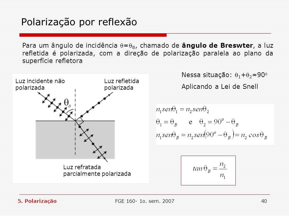 FGE 160- 1o. sem. 200740 Polarização por reflexão Para um ângulo de incidência = B, chamado de ângulo de Breswter, a luz refletida é polarizada, com a
