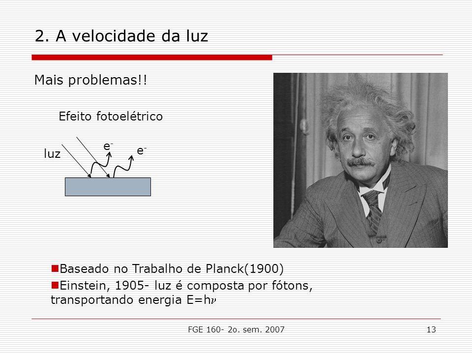 FGE 160- 2o. sem. 200713 2. A velocidade da luz Mais problemas!! e-e- e-e- Efeito fotoelétrico luz Baseado no Trabalho de Planck(1900) Einstein, 1905-