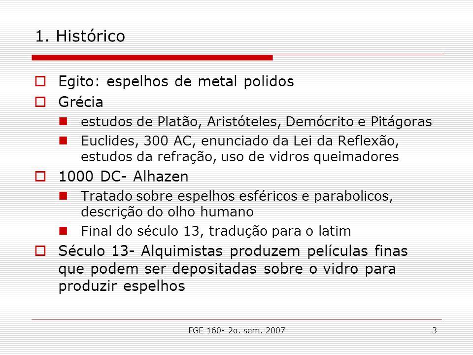 FGE 160- 2o. sem. 20073 1. Histórico Egito: espelhos de metal polidos Grécia estudos de Platão, Aristóteles, Demócrito e Pitágoras Euclides, 300 AC, e