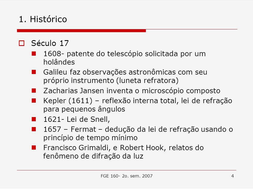 FGE 160- 2o. sem. 20074 1. Histórico Século 17 1608- patente do telescópio solicitada por um holândes Galileu faz observações astronômicas com seu pró