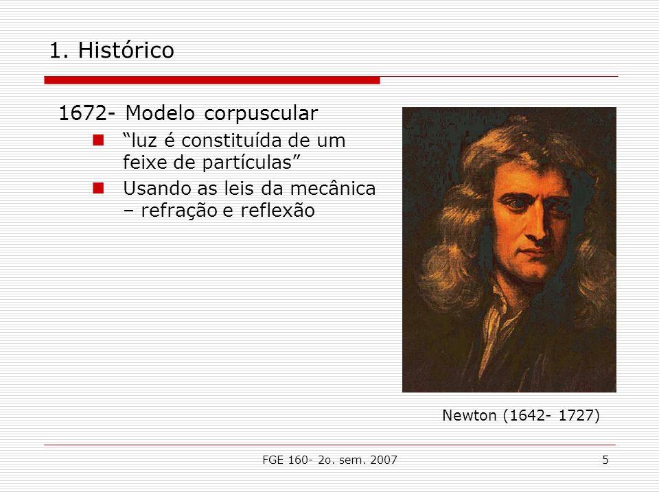 FGE 160- 2o. sem. 20075 1. Histórico 1672- Modelo corpuscular luz é constituída de um feixe de partículas Usando as leis da mecânica – refração e refl