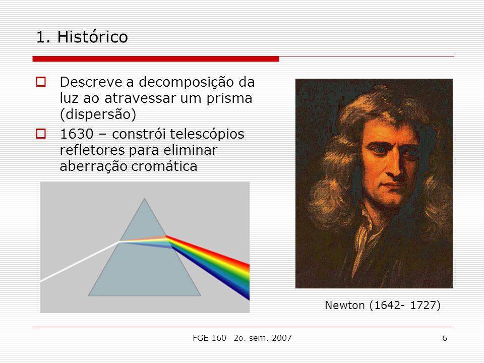 FGE 160- 2o. sem. 20076 1. Histórico Descreve a decomposição da luz ao atravessar um prisma (dispersão) 1630 – constrói telescópios refletores para el