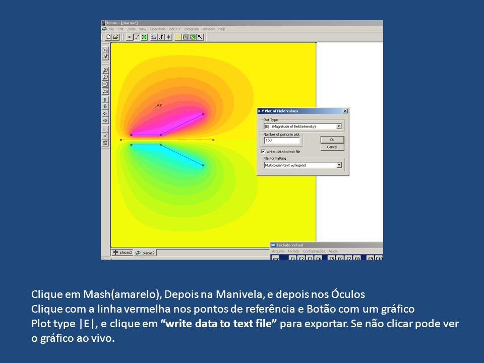 Clique em Mash(amarelo), Depois na Manivela, e depois nos Óculos Clique com a linha vermelha nos pontos de referência e Botão com um gráfico Plot type