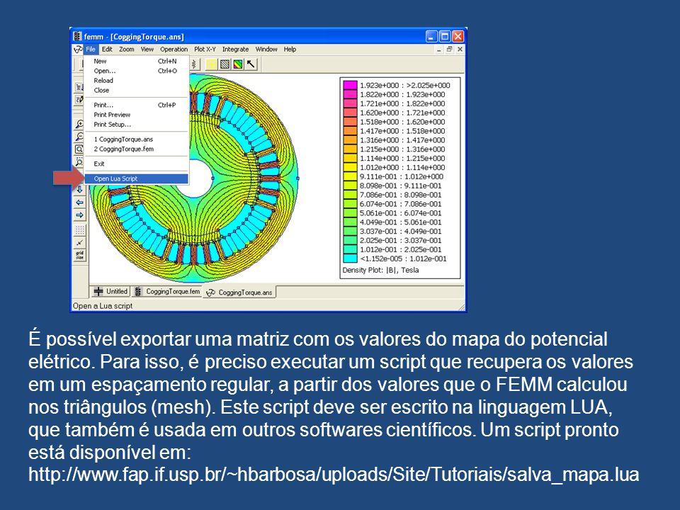 É possível exportar uma matriz com os valores do mapa do potencial elétrico. Para isso, é preciso executar um script que recupera os valores em um esp