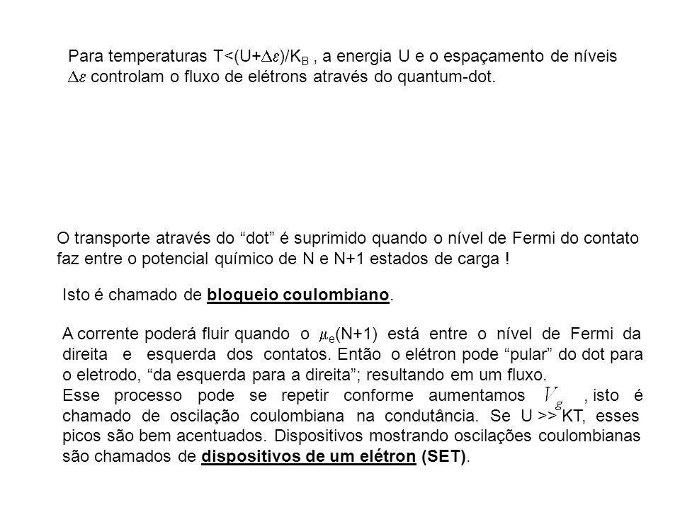 Para temperaturas T<(U+ )/K B, a energia U e o espaçamento de níveis controlam o fluxo de elétrons através do quantum-dot. O transporte através do dot