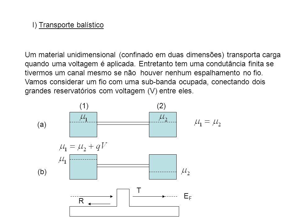 I) Transporte balístico Um material unidimensional (confinado em duas dimensões) transporta carga quando uma voltagem é aplicada. Entretanto tem uma c