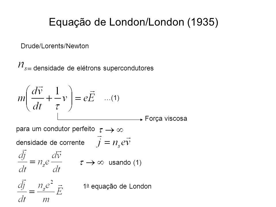 Equação de London/London (1935) Drude/Lorents/Newton densidade de elétrons supercondutores …(1) para um condutor perfeito densidade de corrente usando