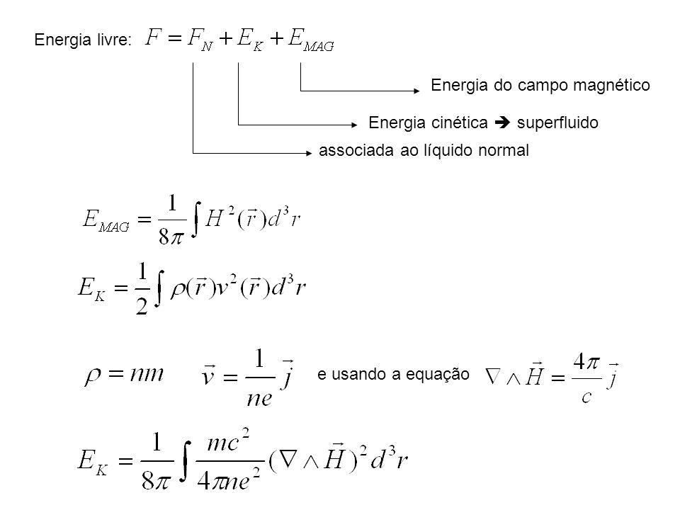 Energia livre: Energia do campo magnético Energia cinética superfluido associada ao líquido normal e usando a equação