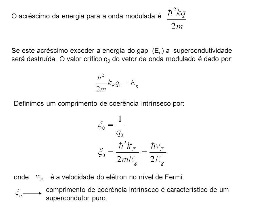 O acréscimo da energia para a onda modulada é Se este acréscimo exceder a energia do gap (E g ) a supercondutividade será destruída. O valor crítico q