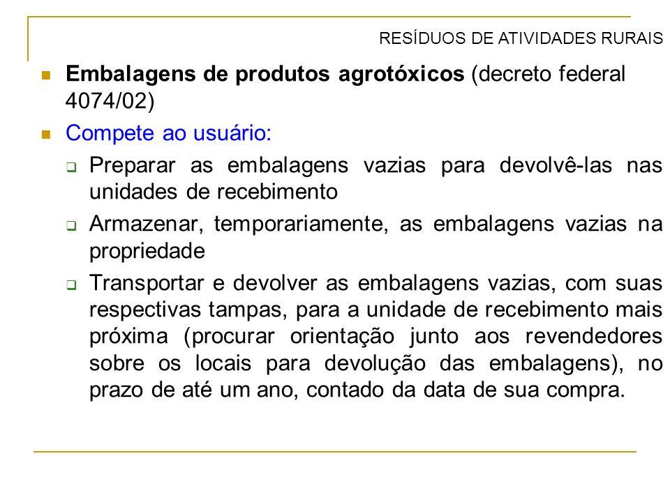 Embalagens de produtos agrotóxicos (decreto federal 4074/02) Compete ao usuário: Preparar as embalagens vazias para devolvê-las nas unidades de recebi