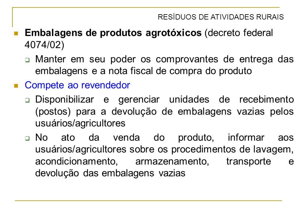 Embalagens de produtos agrotóxicos (decreto federal 4074/02) Manter em seu poder os comprovantes de entrega das embalagens e a nota fiscal de compra d