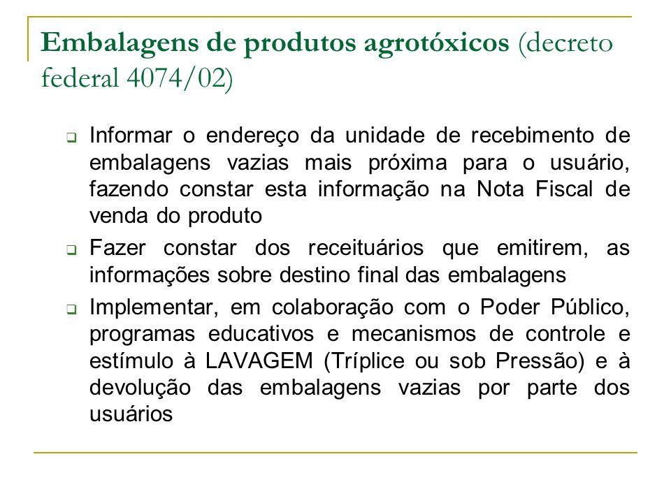 Embalagens de produtos agrotóxicos (decreto federal 4074/02) Informar o endereço da unidade de recebimento de embalagens vazias mais próxima para o us