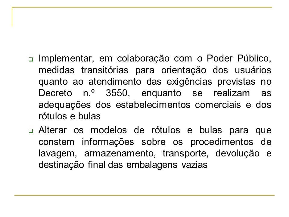 Implementar, em colaboração com o Poder Público, medidas transitórias para orientação dos usuários quanto ao atendimento das exigências previstas no D